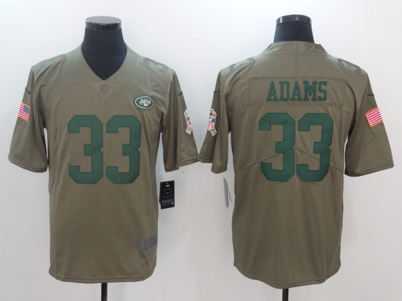 Men New York Jets 33 Adams Nike Olive Salute To Service Limited NFL Jerseys