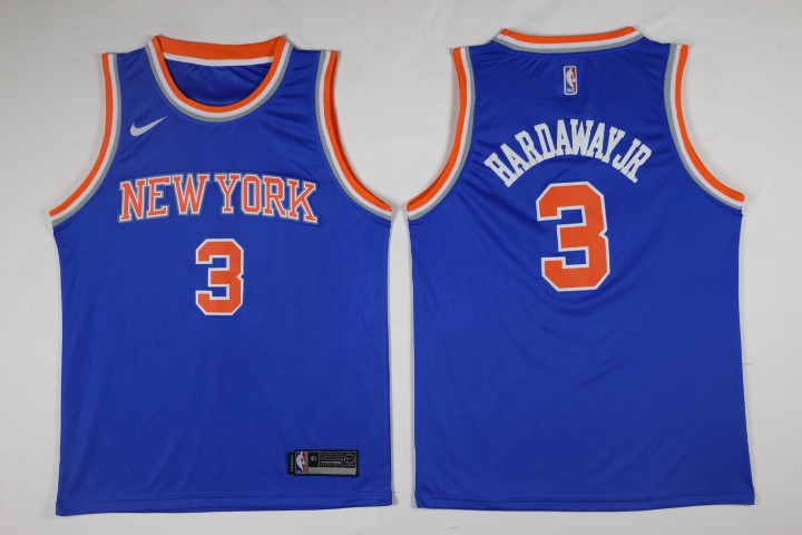 Men New York Knicks 3 Hardawayjr Blue Game Nike NBA Jerseys