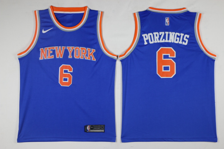 Men New York Knicks 6 Porzingis Blue Game Nike NBA Jerseys