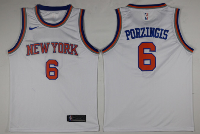 Men New York Knicks 6 Porzingis White Game Nike NBA Jerseys