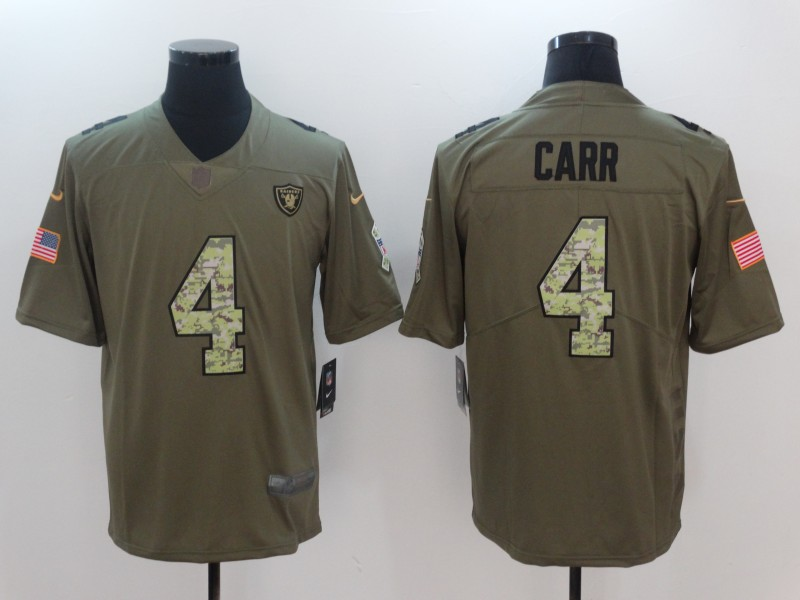 Men Oakland Raiders 4 Carr Camo Nike Olive Salute To Service Limited NFL Jerseys
