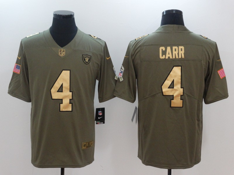 Men Oakland Raiders 4 Carr Gold Anthracite Salute To Service Nike NFL Limited Jersey
