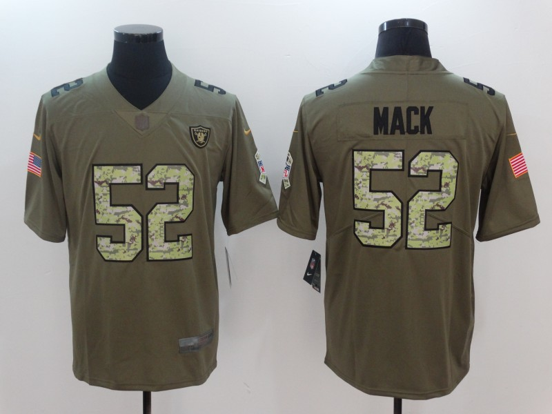 Men Oakland Raiders 52 Mack Camo Nike Olive Salute To Service Limited NFL Jerseys