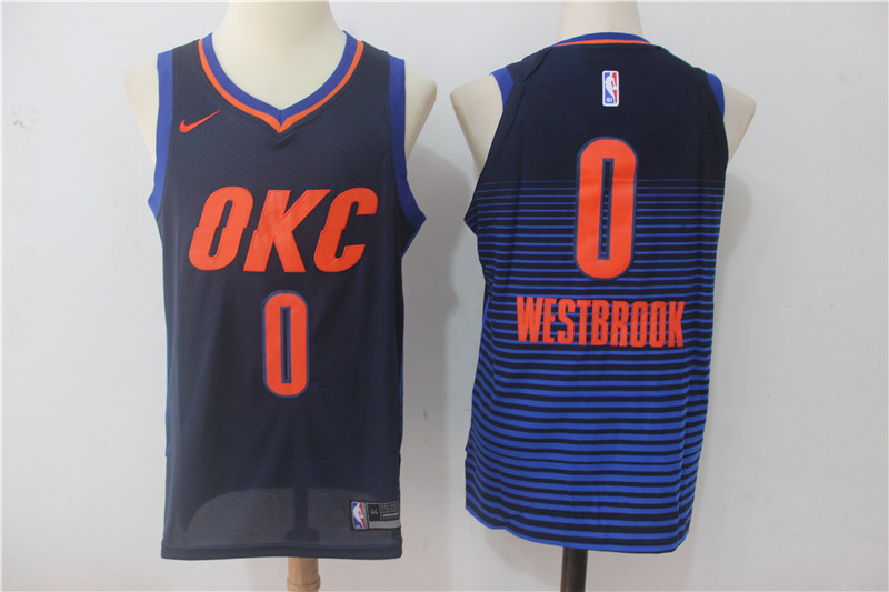 Men Oklahoma City Thunder 0 Russell Westbrook Blue OKC NBA Jerseys
