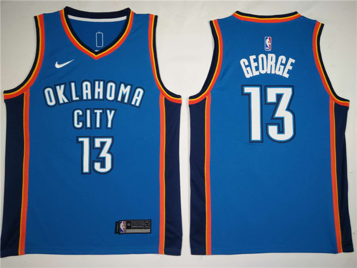 Men Oklahoma City Thunder 13 George Blue Game Nike NBA Jerseys