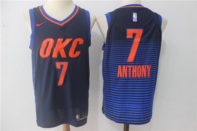 Men Oklahoma City Thunder 7 Anthony Blue OKC NBA Jerseys
