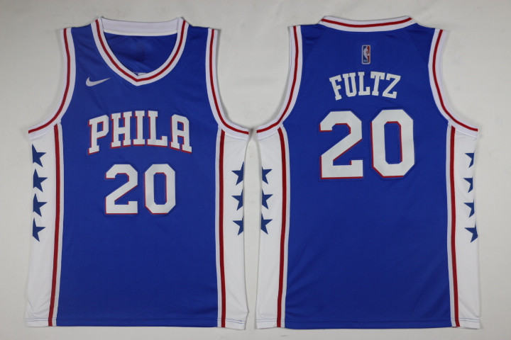 Men Philadelphia 76ers 20 Fultz Blue Game Nike NBA Jerseys