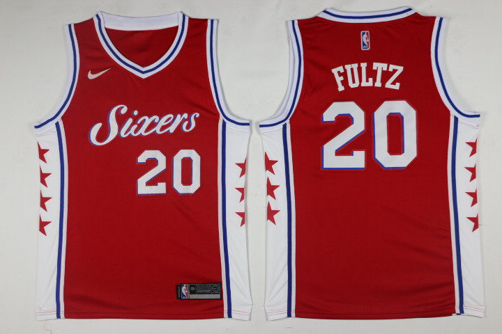 Men Philadelphia 76ers 20 Fultz Red Game Nike NBA Jerseys