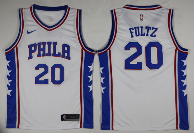 Men Philadelphia 76ers 20 Fultz White Game Nike NBA Jerseys