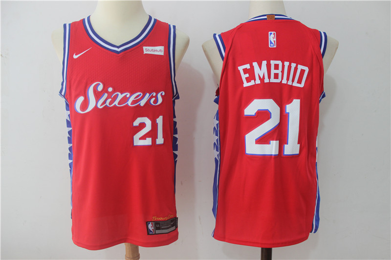 Men Philadelphia 76ers 21 Embiid Red NBA Jerseys