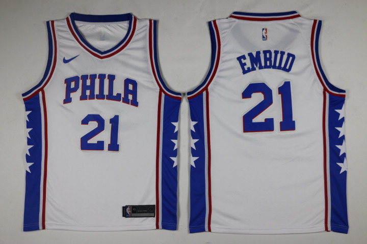 Men Philadelphia 76ers 21 Embiid White Game Nike NBA Jerseys