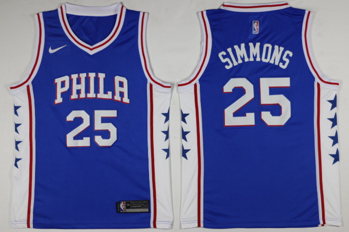 Men Philadelphia 76ers 25 Simmons Blue Game Nike NBA Jerseys