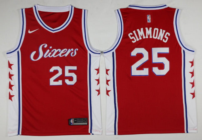 Men Philadelphia 76ers 25 Simmons Red Game Nike NBA Jerseys