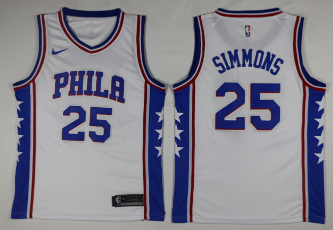 Men Philadelphia 76ers 25 Simmons White Game Nike NBA Jerseys