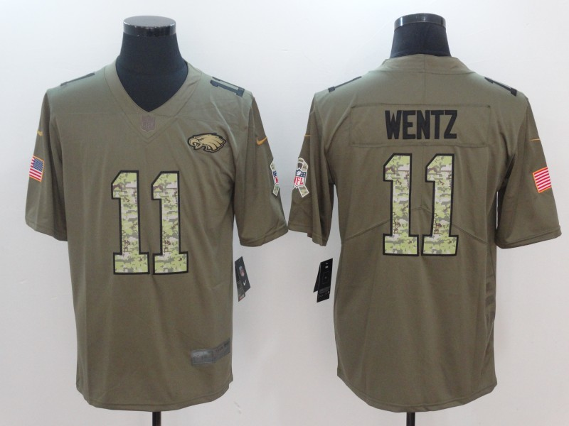 Men Philadelphia Eagles 11 Wentz Camo Nike Olive Salute To Service Limited NFL Jerseys
