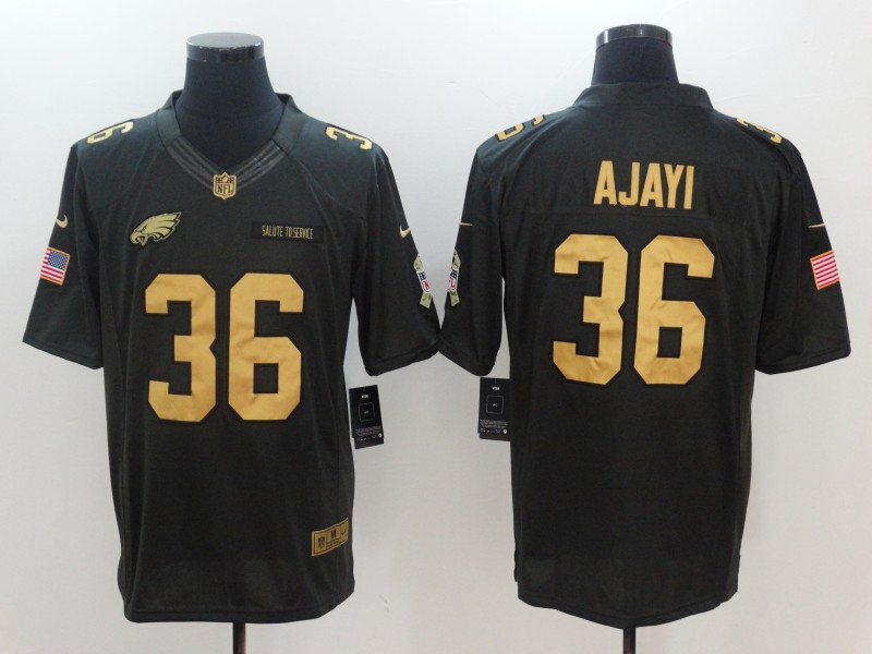 Men Philadelphia Eagles 36 Ajayi Gold Anthracite Salute To Service Nike NFL Limited Jersey