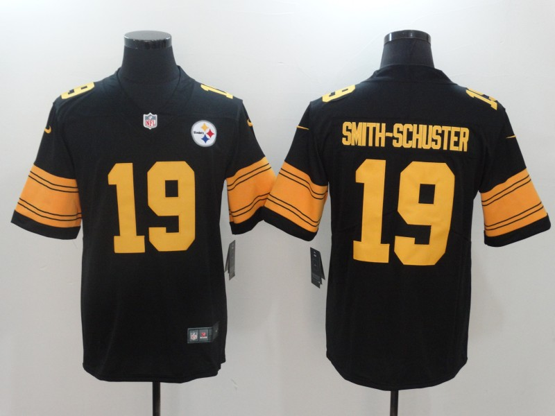 Men Pittsburgh Steelers 19 Smith-Schuster Black YellowNike Vapor Untouchable Limited NFL Jerseys