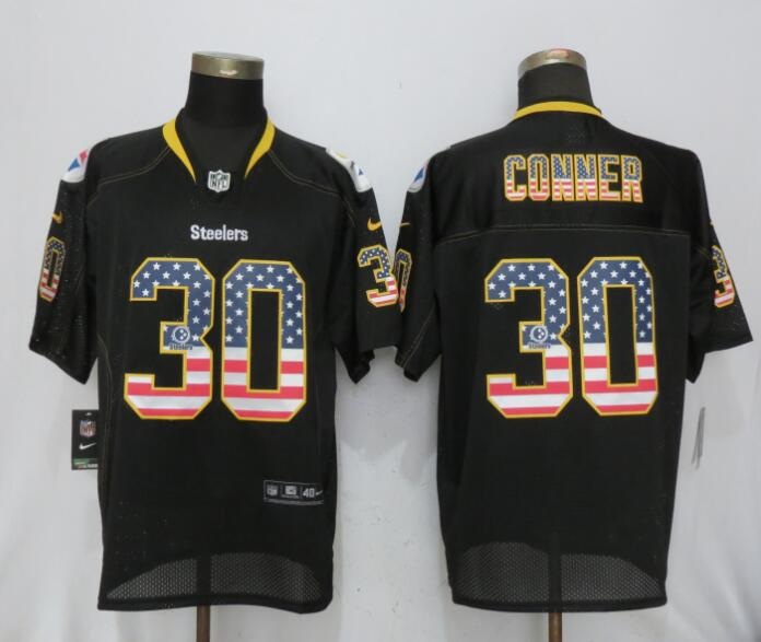 Men Pittsburgh Steelers 30 Conner Nike USA Flag Fashion Black Elite Jersey
