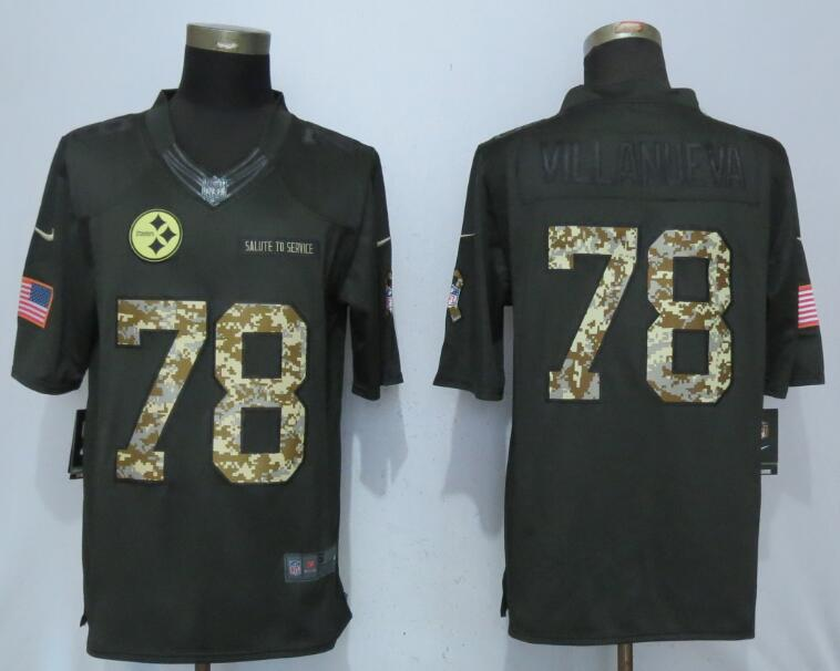 Men Pittsburgh Steelers 78 Villanueva Green Anthracite Salute To Service Limited Jersey