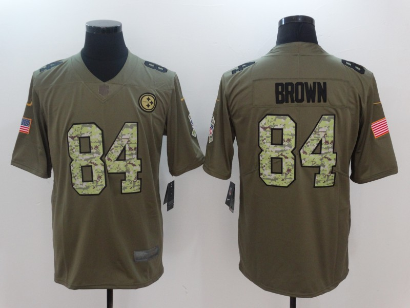 Men Pittsburgh Steelers 84 Brown Camo Nike Olive Salute To Service Limited NFL Jerseys