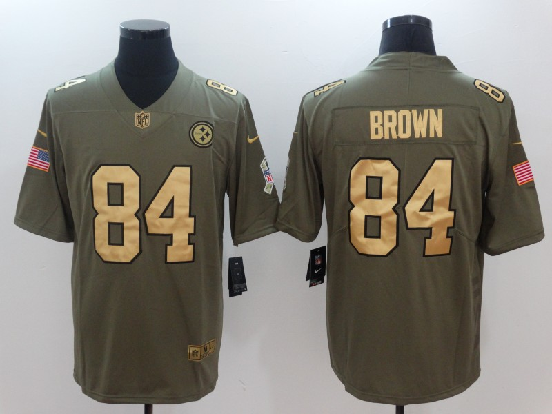 Men Pittsburgh Steelers 84 Brown Gold Anthracite Salute To Service Nike NFL Limited Jersey