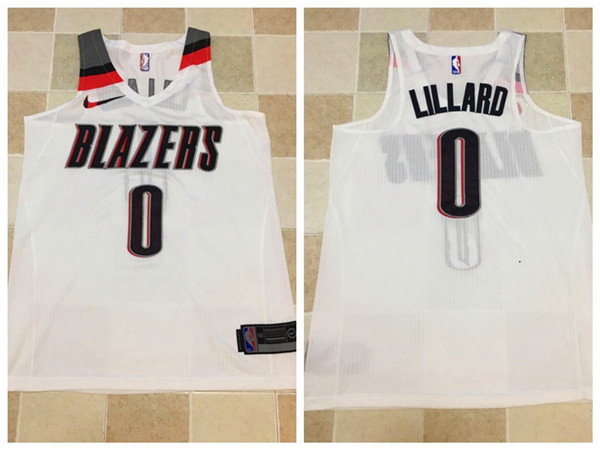 Men Portland Trail Blazers 0 Lillard White Nike NBA Jerseys