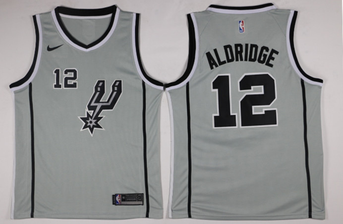 Men San Antonio Spurs 12 Aldridge Grey Game Nike NBA Jerseys