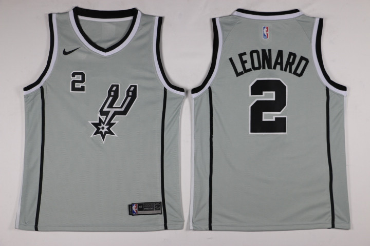 Men San Antonio Spurs 2 Leonard Grey Game Nike NBA Jerseys