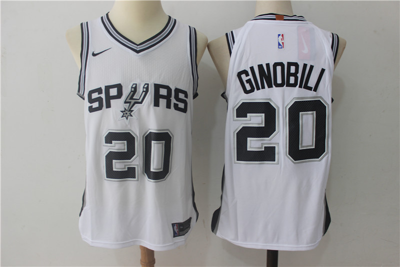 Men San Antonio Spurs 20 Ginobili White NBA Jerseys