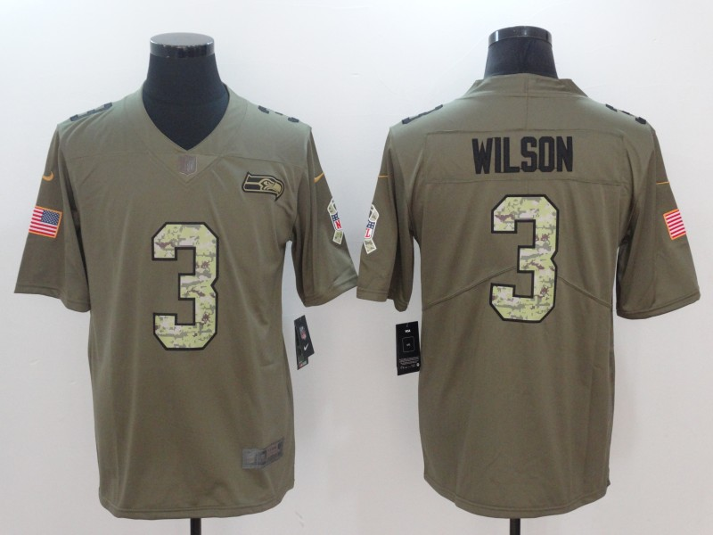 Men Seattle Seahawks 3 Wilson Camo Nike Olive Salute To Service Limited NFL Jerseys