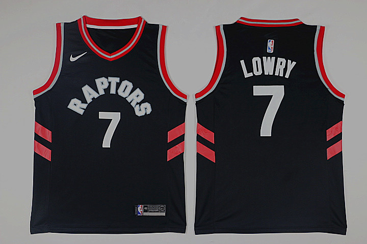 Men Toronto Raptors 7 Lowry Black Game Nike NBA Jerseys