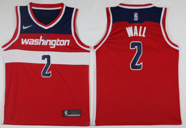 Men Washington Wizards 2 Wall Red Game Nike NBA Jerseys