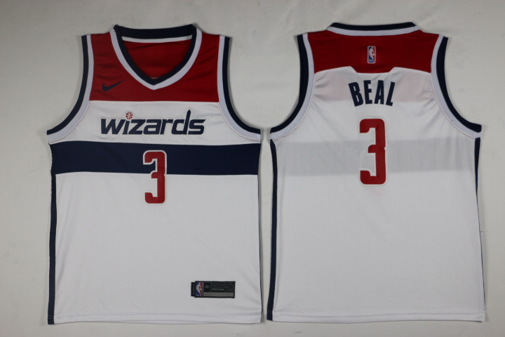 Men Washington Wizards 3 Beal White Game Nike NBA Jerseys