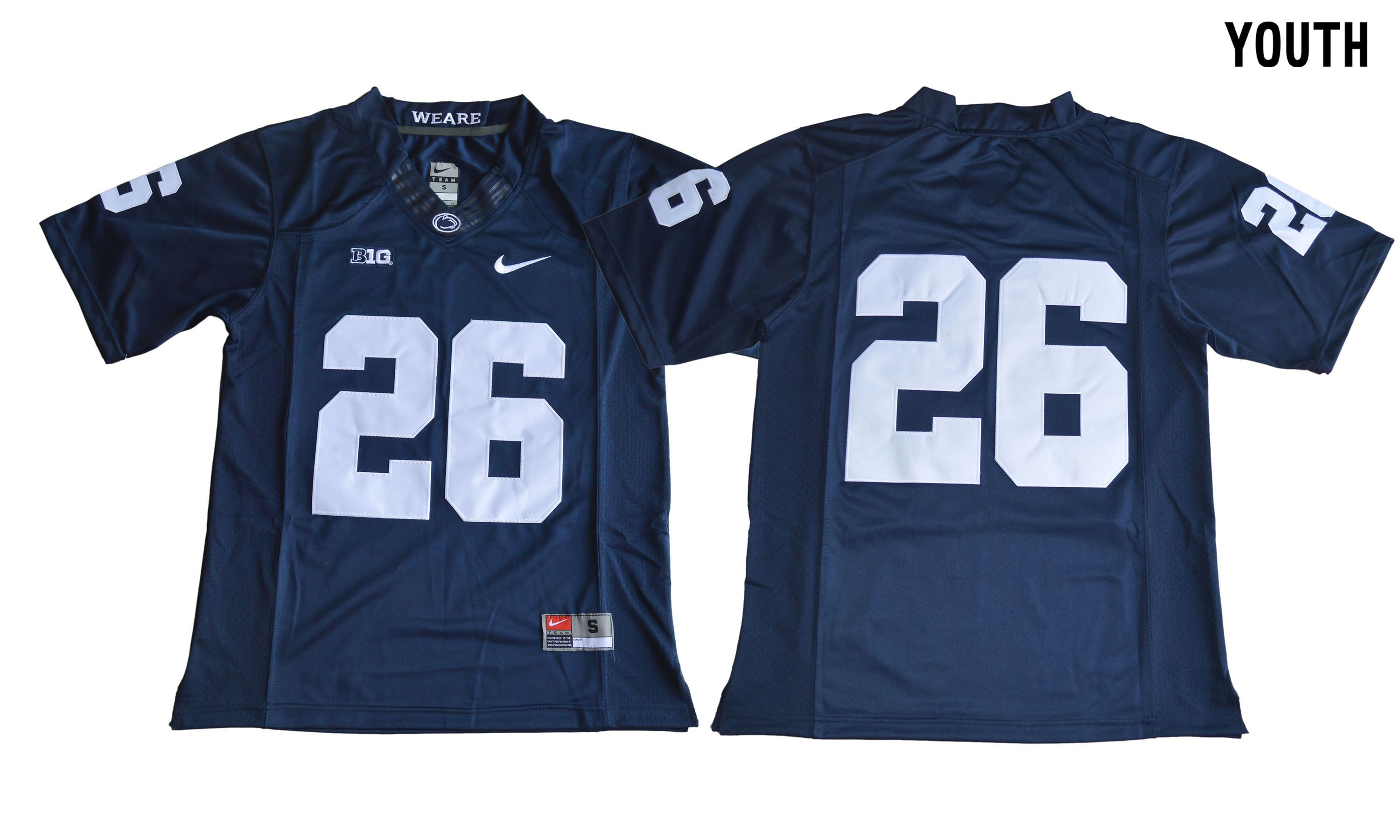 NCAA 2017 Youth Penn State Nittany Lions 26 Saquon Barkley blue Jersey