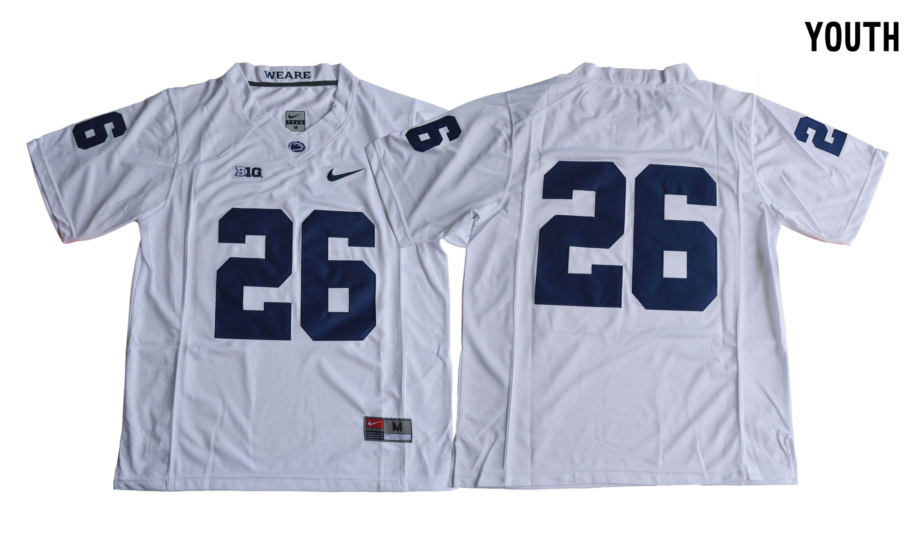 NCAA 2017 Youth Penn State Nittany Lions 26 Saquon Barkley white Jersey