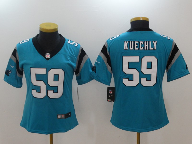 Women Carolina Panthers 59 Kuechly Blue Nike Vapor Untouchable Limited NFL Jerseys