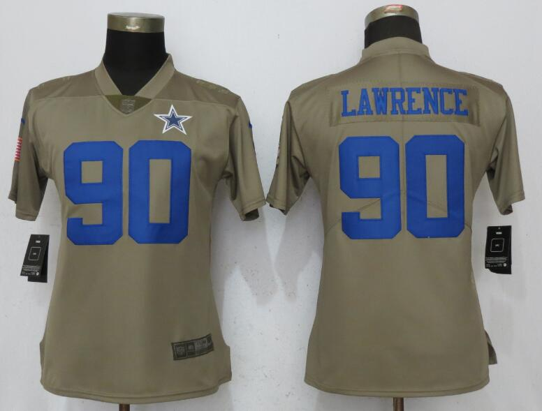 Women Dallas Cowboys 90 Lawrence Nike Olive Salute To Service Limited NFL Jerseys