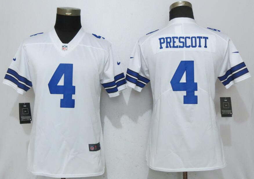 Women Dallas cowboys 4 Prescott White Nike Vapor Untouchable Limited NFL Jerseys