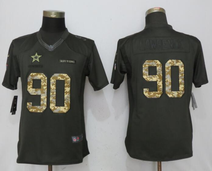 Women Dallas cowboys 90 Lawrence Green Nike Salute To Service Limited Jersey