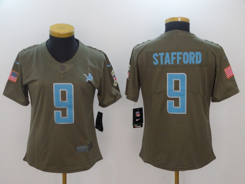 Women Detroit Lions 9 Stafford Nike Olive Salute To Service Limited NFL Jerseys