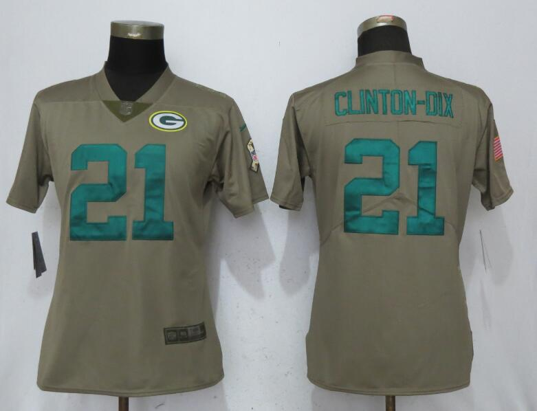 Women Green Bay Packers 21 Clinton-Dix Nike Olive Salute To Service Limited NFL Jerseys