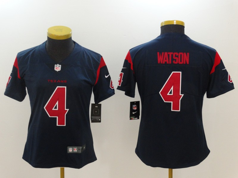 Women Houston Texans 4 Watson Blue Nike Vapor Untouchable Limited NFL Jerseys