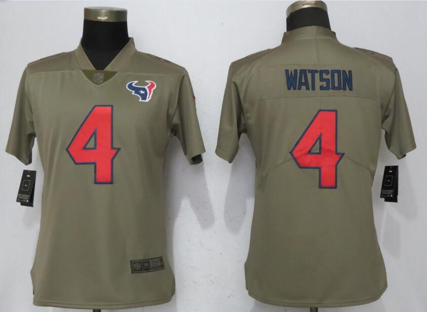 Women Houston Texans 4 Watson Nike Olive Salute To Service Limited NFL Jerseys