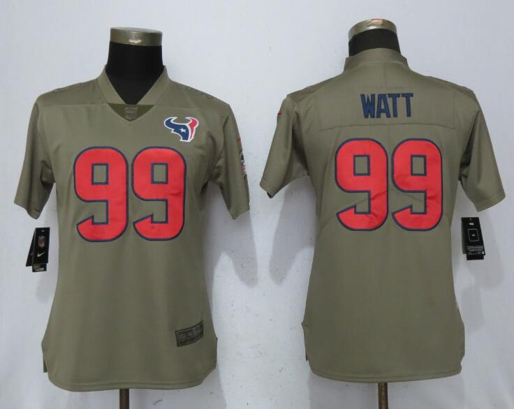 Women Houston Texans 99 Watt Nike Olive Salute To Service Limited NFL Jerseys