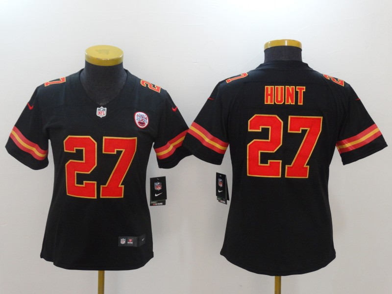Women Kansas City Chiefs 27 Hunt Black Nike Vapor Untouchable Limited NFL Jerseys