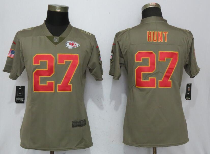 Women Kansas City Chiefs 27 Hunt Nike Olive Salute To Service Limited NFL Jerseys
