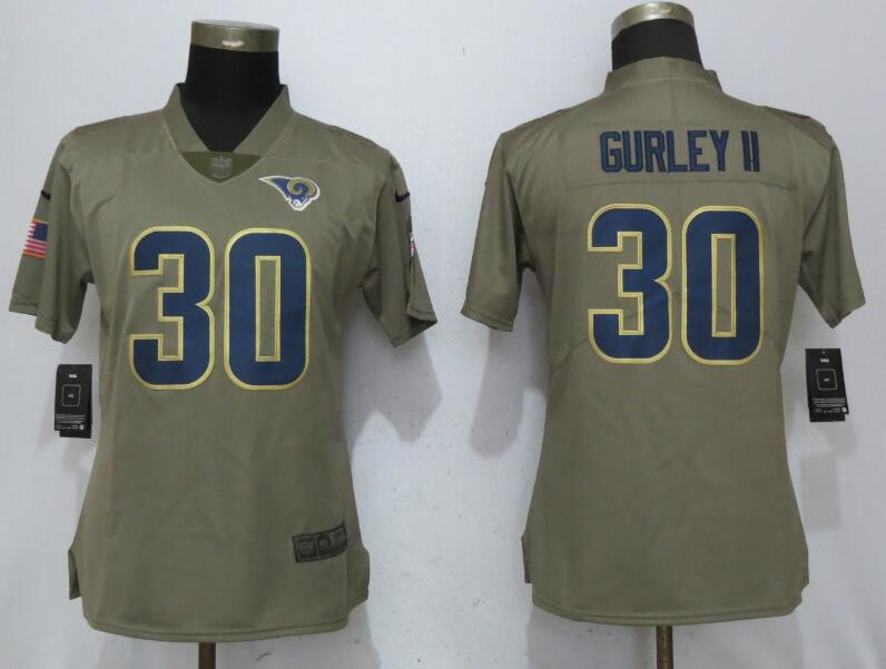 Women Los Angeles Rams 30 Gurley Nike Olive Salute To Service Limited NFL Jerseys