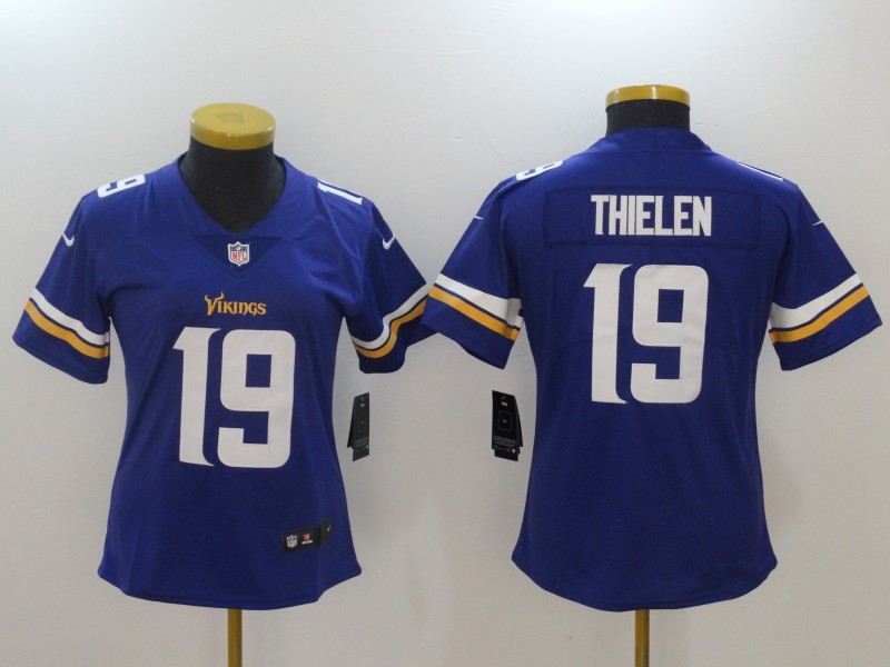 Women Minnesota Vikings 19 Thielen Purple Nike Vapor Untouchable Limited NFL Jerseys