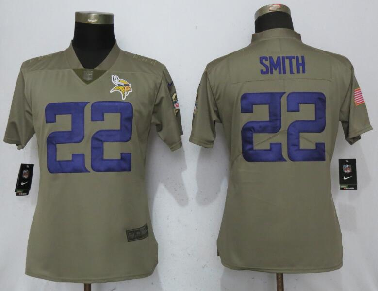 Women Minnesota Vikings 22 Smith Nike Olive Salute To Service Limited NFL Jerseys