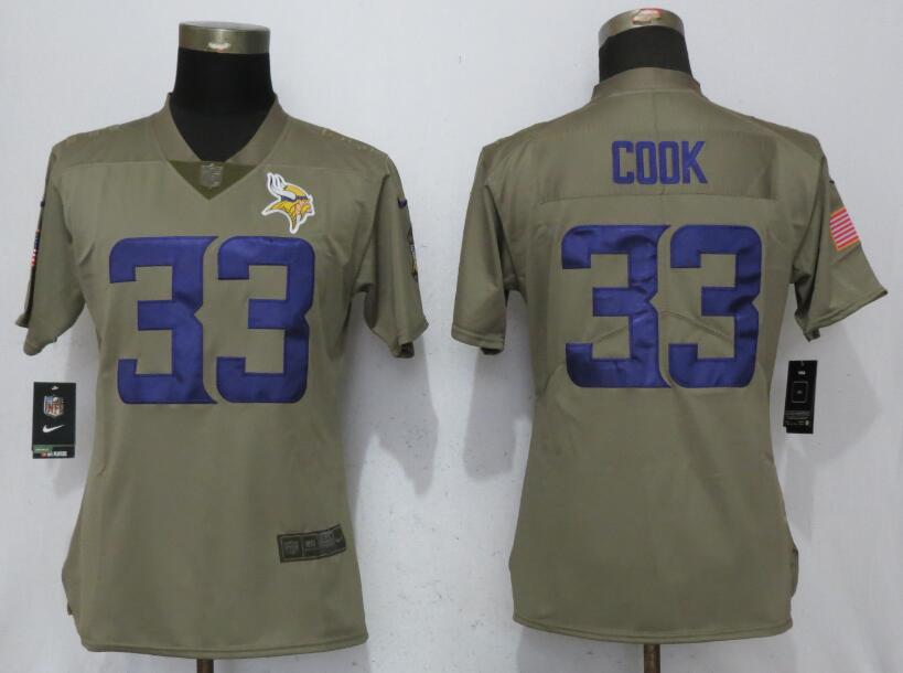 Women Minnesota Vikings 33 C00k Nike Olive Salute To Service Limited NFL Jerseys